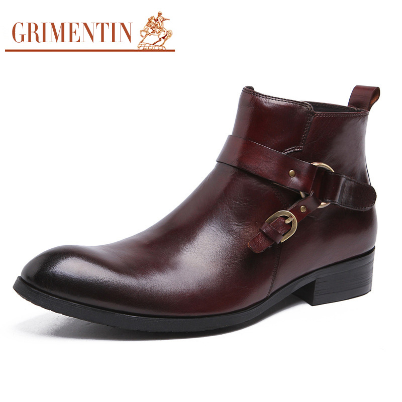 GRIMENTIN Fashion Designer Classic Dress Male Boots Genuine Leather Luxury Men Ankle boots UK Style Luxury Shoes Male Business