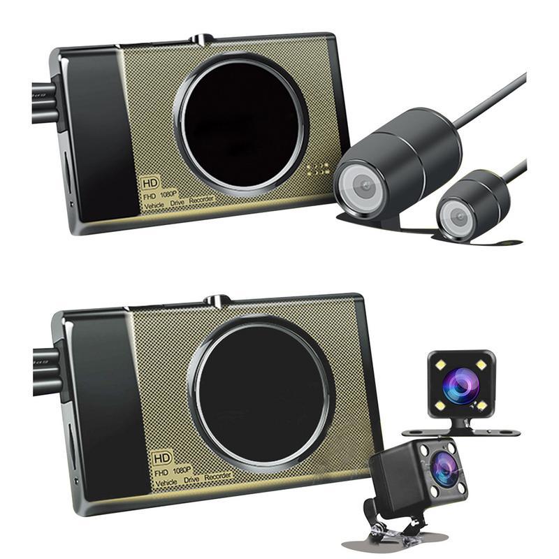 Moto Enregistreur Dash Cam 125 Grand Angle Full HD 1280 p 3 pouces Double Lens Invisible DVR Conduite Enregistreur