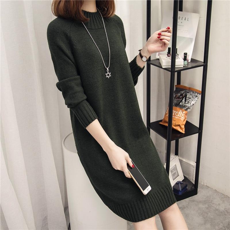 ad7dfdf5558 ... Plus Size Loose Half-Turtleneck Long Women Sweater Dress Fashion Mid-Calf  Knitwear Jumper ...