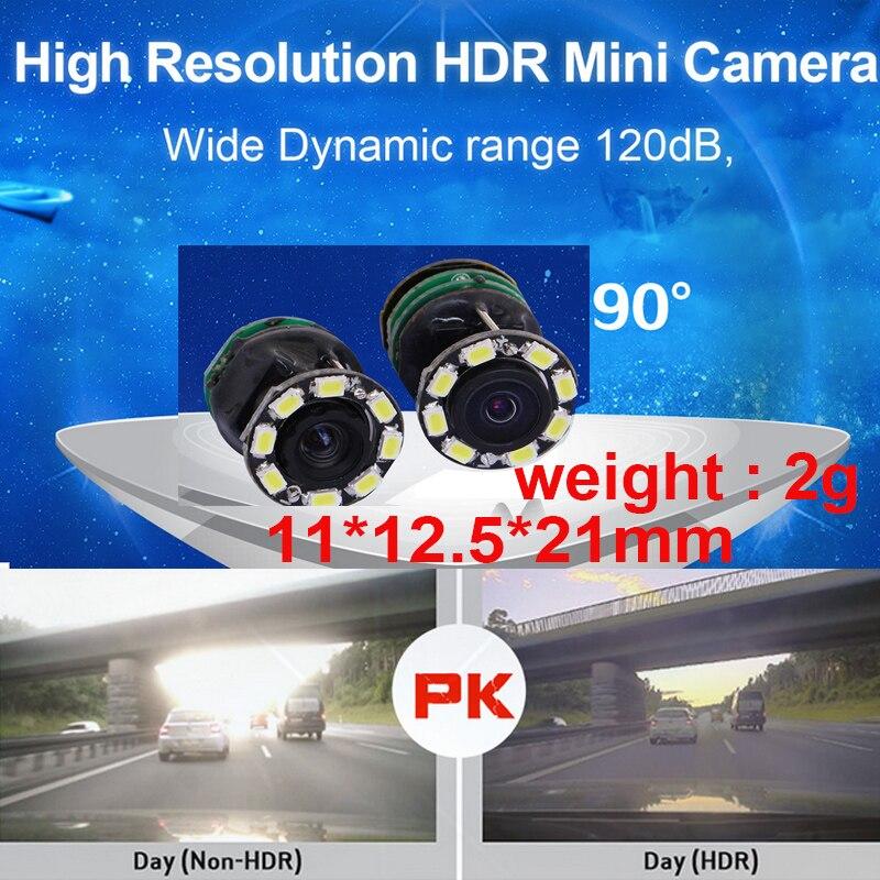 HDR wide dynamic 120dB 1000 TV line mini camera 60 fps drone camera 90degree CCTV camera w/ MIC. night vision 1000 tvl camera 2g
