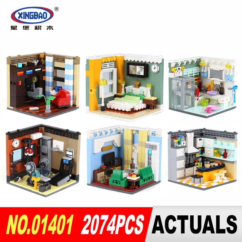 XingBao 01401 Genuine The Residential House Set 2074Pcs Self-Assembling Building Series Building Blocks Kits Educational Toys black pearl building blocks kaizi ky87010 pirates of the caribbean ship self locking bricks assembling toys 1184pcs set gift