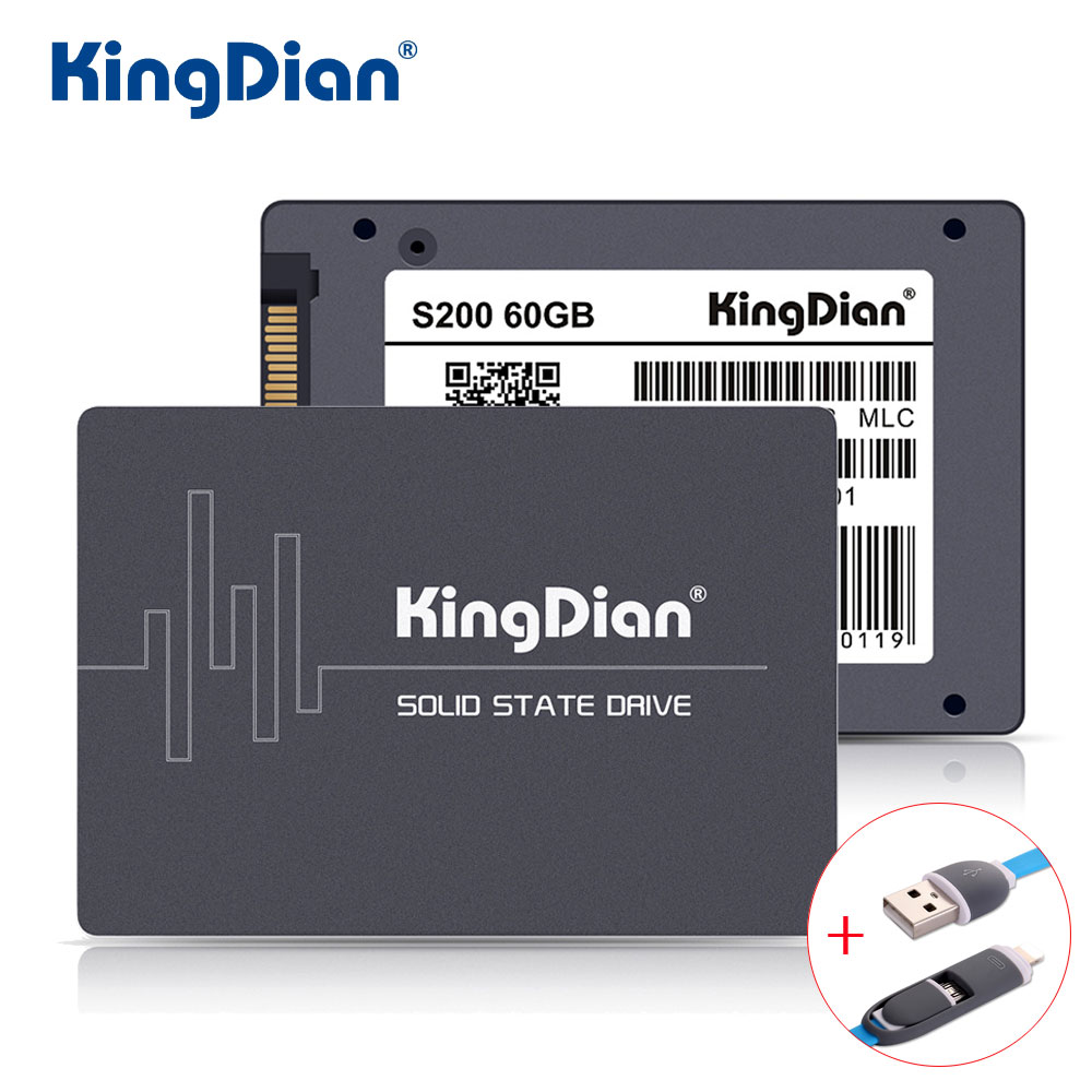 KingDian SSD 60GB S200 3 Years Warranty SATA3 2.5 inch Hard Drive Disk 60GB HD HDD Factory Directly +Usb Date Cable