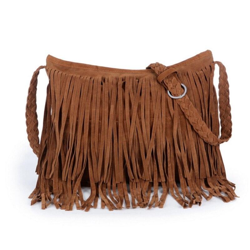 Women Tassel Fringe Faux Suede Shoulder Messenger Crossbody Bag Handbag Purse Black in Shoulder Bags from Luggage Bags