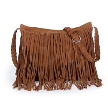 Women Tassel Fringe Faux Suede Shoulder Messenger Crossbody Bag Handbag Purse Black
