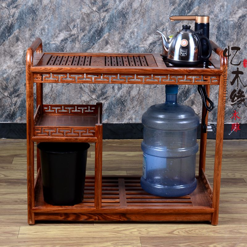 Rosewood furniture, chicken wing, wooden tea cart, Kung Fu mobile coffee table, push cart, rosewood movable tea table, tea rack, 100% bamboo kung fu tea set bamboo tea tray bamboo tea saucer large sea water type tea table storage tray trumpet