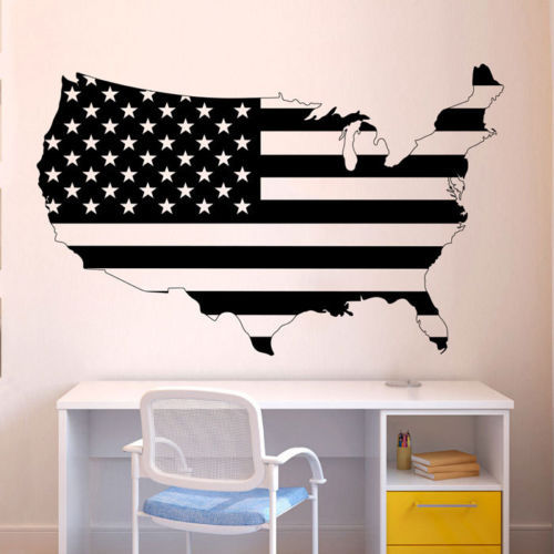 map vinyl wall decal united states of america usa flag map mural art wall sticker living