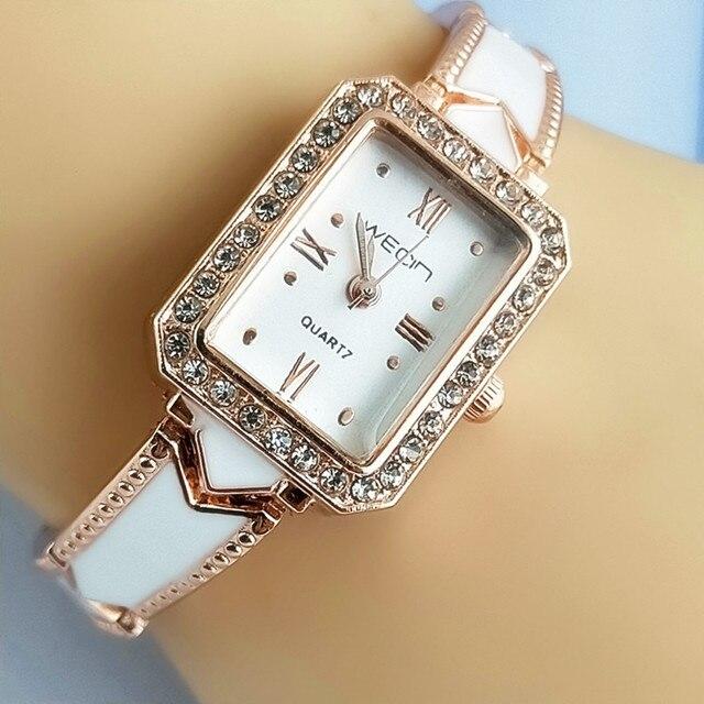 2018 Hot Style Rectangular Shape Women's Fashion Bracelet Watches With Shiny Sto