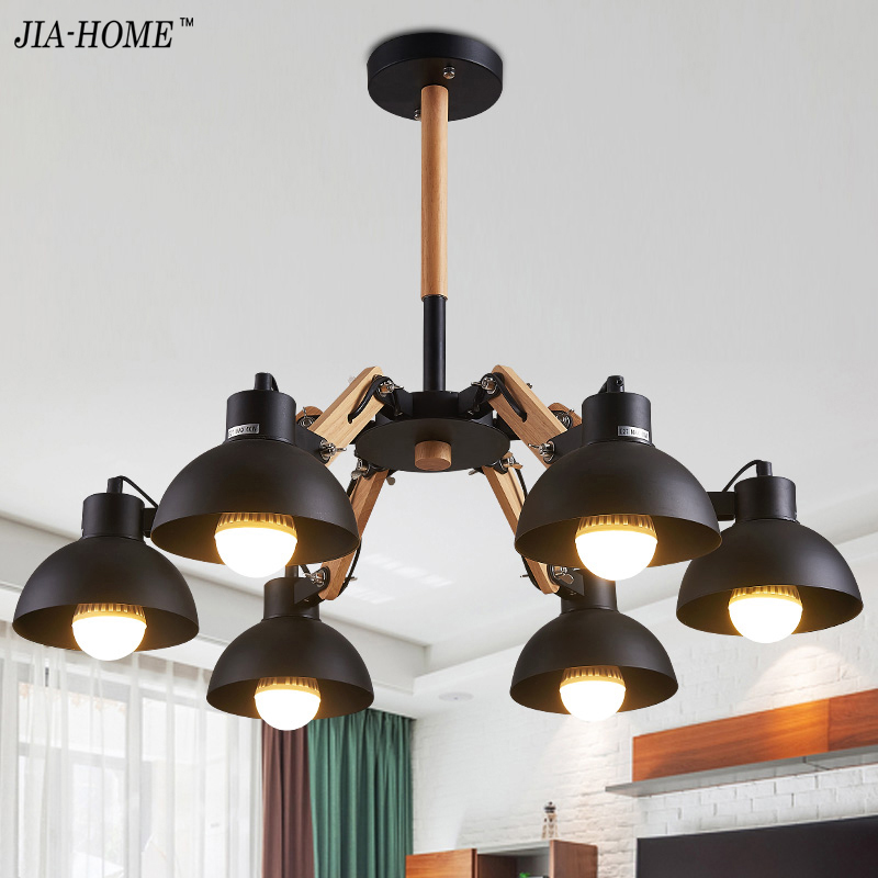 Living room Chandeliers Lights with white black body for bedroom study room  3 6 8 heads lighting Lamparas De Techo Home Decor 3d28c35a579