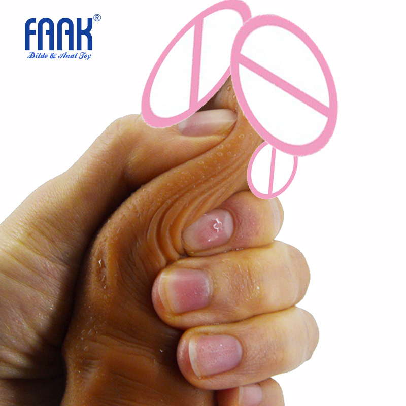 FAAK 24x4.6cm Realistic Soft medical Silicone Dildo Suction Cup Male Artificial Penis Flexible Masturbator Sex Toys For women valve menstrual cup medical silicone period cup anti side leakage alternative tampon sanitary pads feminine hygiene products