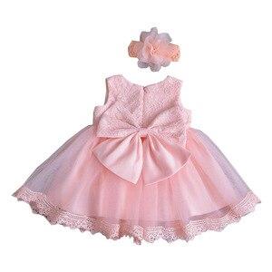 Нарядное платье принцессы для новорожденных, Infantil Weding платье-пачка с кружевным бантом, милое платье для крещения на день рождения, высокое к...