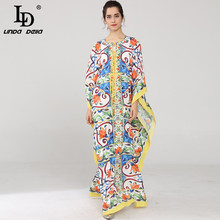 LD LINDA DELLA 2018 New  Runway Maxi Dress Womens Batwing Sleeve Halter Loose Ruffles Casual Floral Print Boho Beach Long