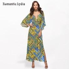 Summer Boho Floral Print Dress Women Sexy V Neck Split Backless Maxi Bohemian Dresses Sundress Vestidos New Arrival 2018