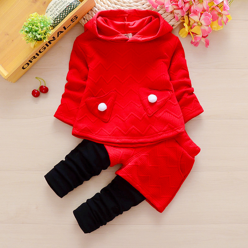 BibiCola toddle baby girls autumn clothing set cotton hoodies sweatershirt+pants outfits suit infant kids casual clothes set