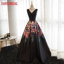 Floral Long Evening Dresses Party A Line Satin Beautiful Women Prom Formal Evening Gowns Dresses Wear
