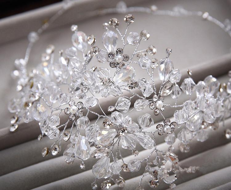 2017 Fashion Hanmade Crystal Bridal Headdress Soft White Wedding Accessories Vintage Headbands Bride Silver Hair In Jewelry From
