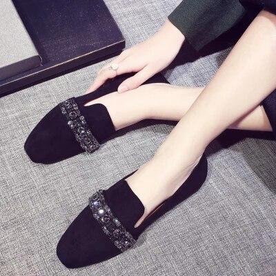 Beige noir Enceintes Strass Pois Mou Femmes De Chaussures Simples Fond 2018 Nouvelle Scoop coréen fHg1qwF