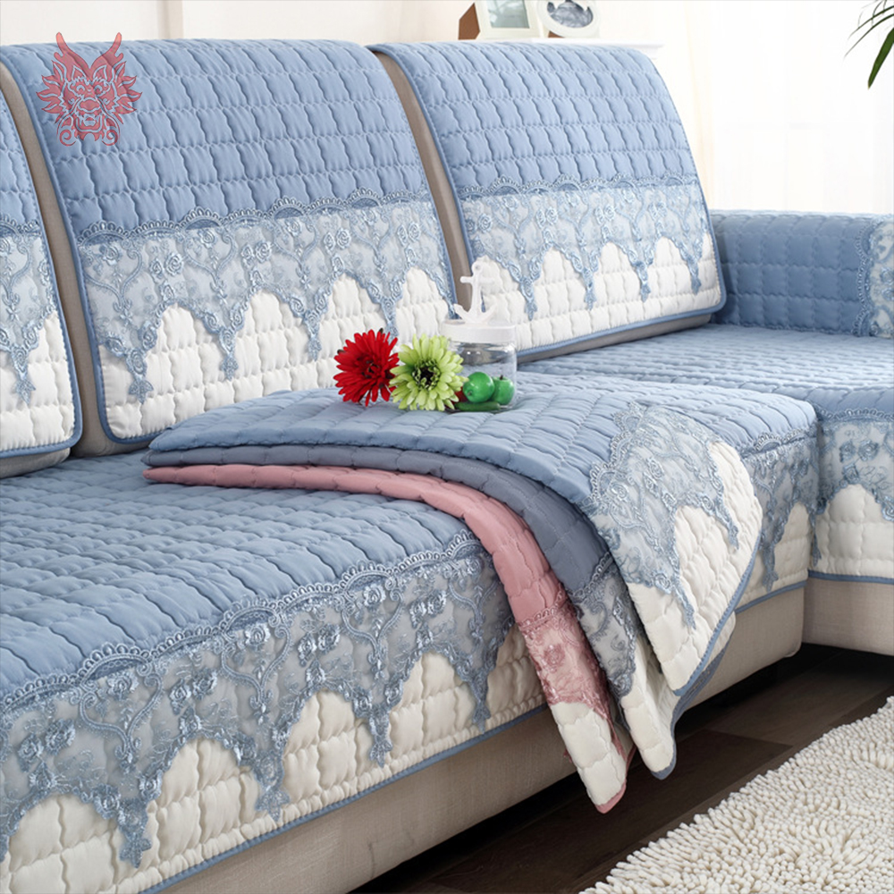 Korean Style Blue Pink Green Lace Spliced Quilted Sofa