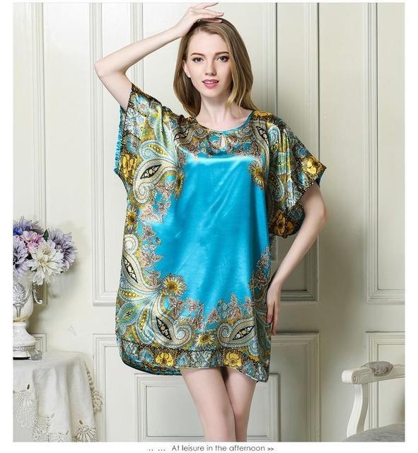 Summer Sexy Style Silk  O Neck Women Pyjamas Of Night Shirt Short Sleeve Plus Size Nightgowns Sleep