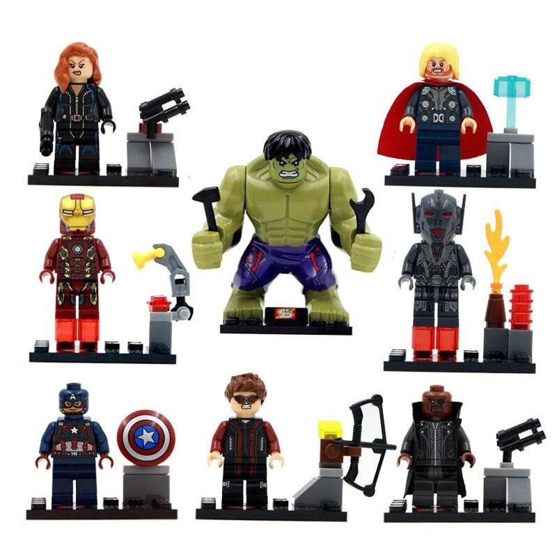 8pcs Super Heroes Marvel Avengers Military Action Figures Legoings Blocks Toys Deadpool  Hulk Batman Christmas Gifts