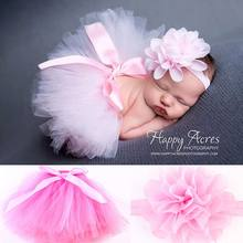 Newborn Baby Girl Photo Prop Tutu Skirt Headband Set Ruffled Bowknot Tulle Dress Flower Hairband Party Costume Outfits 0-9 Month(China)