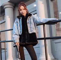 Womens Two Pieces Denim Fur Jackets Winter Autumn Slim Warm Coats Korean Long Sleeves Two Pieces Man Made Fur Outwear K935