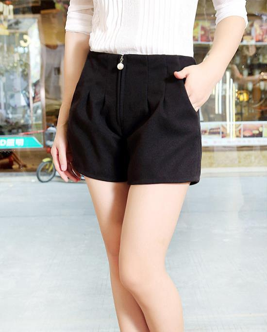 Frauen Frühlingsmodelle Frauen Woll Shorts Perle Reißverschluss - Damenbekleidung - Foto 5
