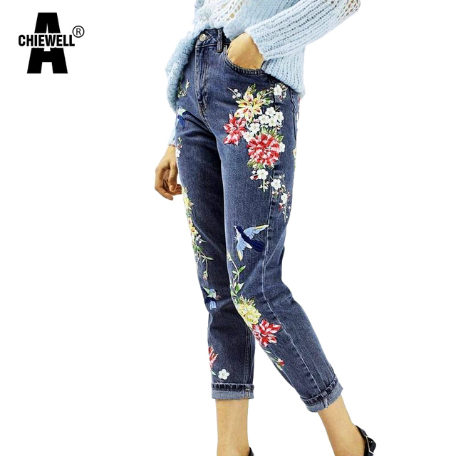 7d3185cb48a Achiewell Spring Vintage Plus Size BF Women Floral Embroidery Jeans High  Waist Ladies Straight Blue Denim Pants Jeans Bottoms