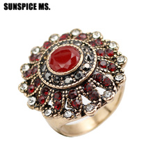 Vintage Turkish Women Round Crystal Wedding Rings Antique Gold Color Red Green Resin Indian Ring Jewelry Fashion Accessories New