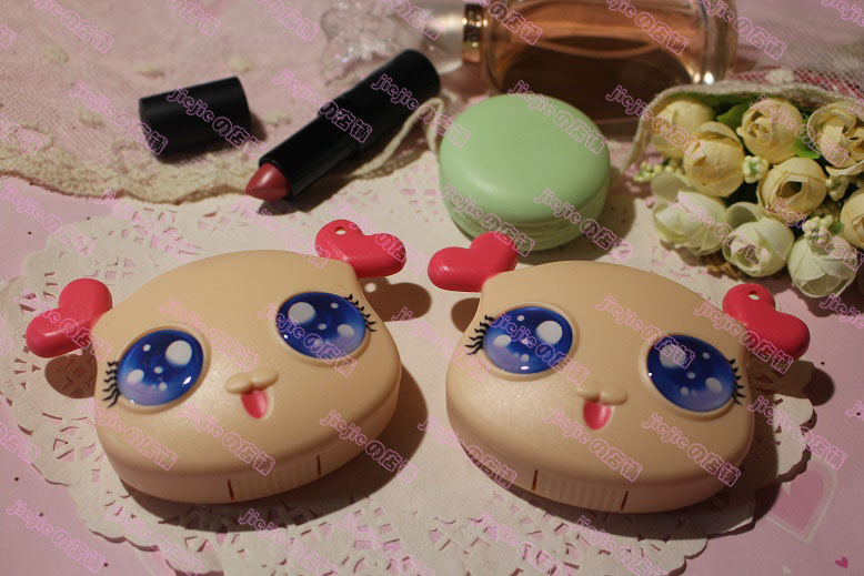 Apparel Accessories Men's Glasses 5pcs New Cute Sweet Cartoon Big Eyes Doll Shape Contact Lens Case Girl Special Partner Box Fashion With A Mirror Nursing Box