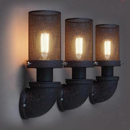 loft wroguht iron Water pipe wall lamp vintage aisle lights loft iron wall lamp  110-240V