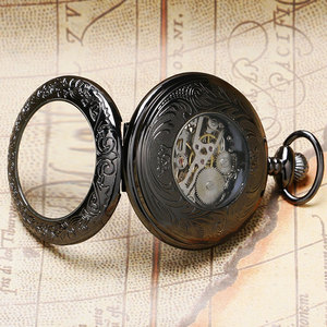 Image 4 - Retro Black Pattern Glass Case Design With Blue Skeleton Dial Mechanical Pocket Watch With Chain Gift To Men Women