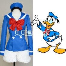 Donald duck traje de la mascota cosplay traje azul donald duck dress traje de marinero uniforme para la mujer o el hombre