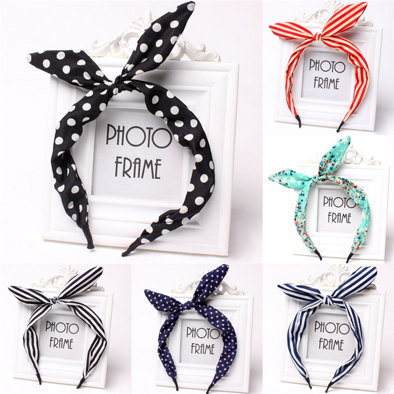 1Pc Cute Leopard Dots Lip Print Flower Metal Wire Scarf Headband Hair Band Accessories Rabbit Ear Ribbon Headwear Hairband