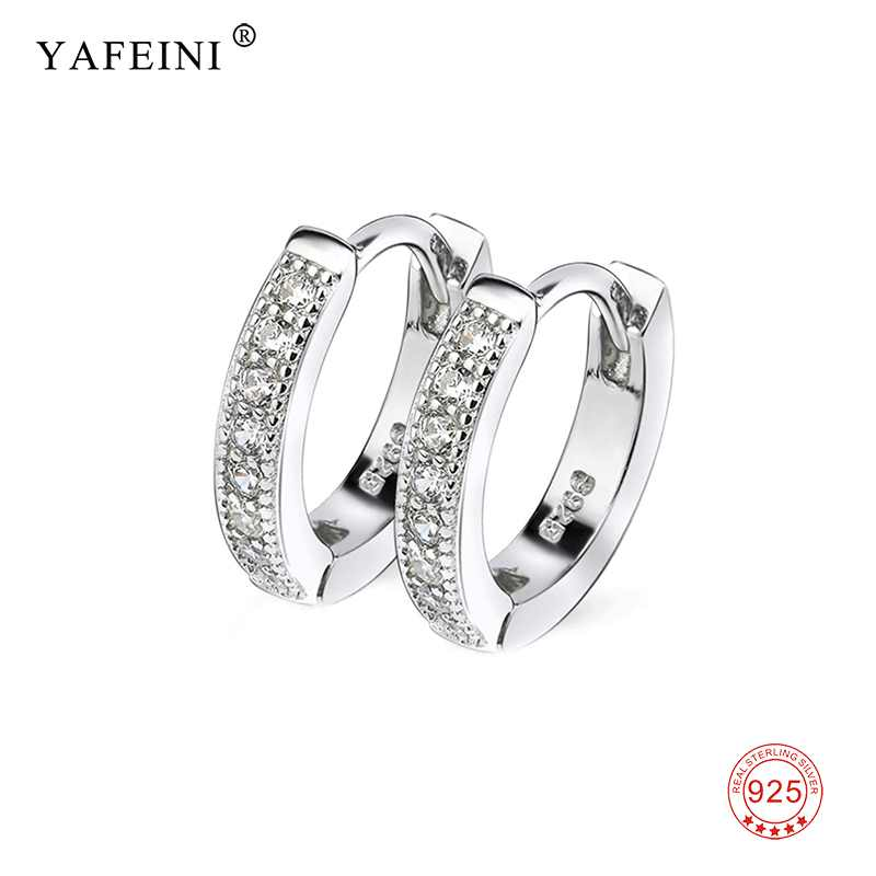 YAFEINI Brand Real 925 Sterling Silver Small Circle Hoop Earrings For Women CZ Round Earring Girl Gift Fashion Hot Sale