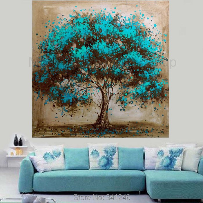 abstract wall art for living room.  Hand Painted Decorative Tree Red Flower Oil Painting 100 painted Modern home decoration abstract Wall Art picture