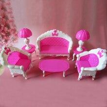 Envío Gratis, regalo de cumpleaños para niña, lámpara de escritorio de sofá vintage de plástico, 6 artículos/accesorios para muñeca barbie, para alta monstruo