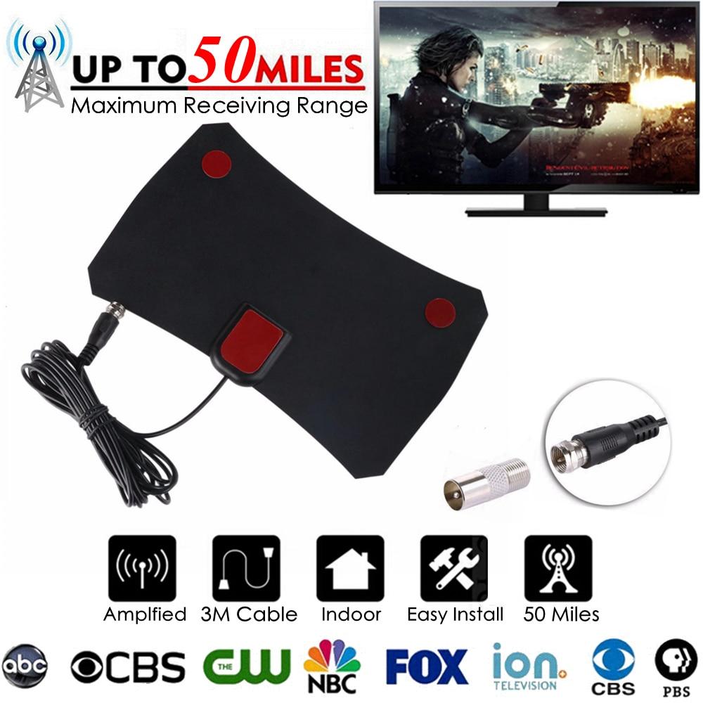 50 Miles HD Indoor Free TV Fox Digital TV Antenna TVFox HDTV DTV Antena DVB-T DVB-T2 VHF UHF DVB ATSC ISDB PAL Signal Receiver