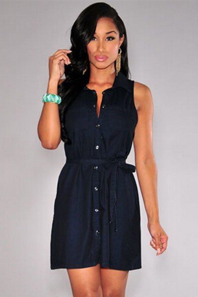pre order lower price with top design Fashion New Black Sleeveless Denim Button Down Collared Belted ...