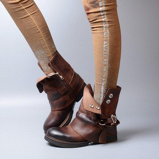 US $129.8 50% OFF|Zobairou braun stiefeletten winter echtem leder cowboy stiefel für frauen chaussure femme damen regen stiefel botines mujer 2017 in