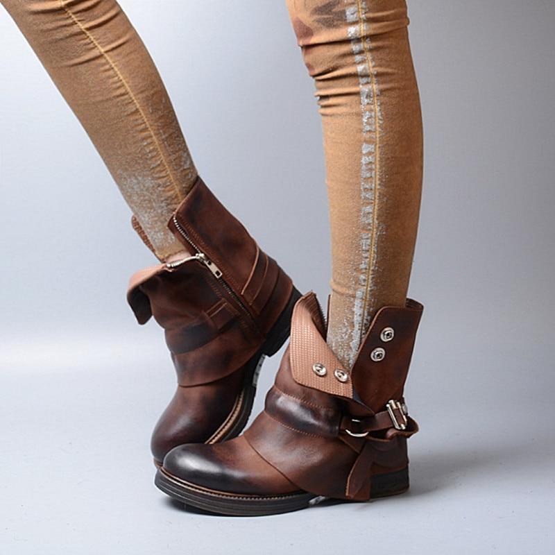 Brun Botines Cheville D'hiver Zobairou As Pour 2017 Picture Les Femme Cuir De Véritable Femmes Mujer Bottes Chaussure Pluie En Dames Cowboy SdaanwxA