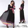 2017 primavera verano nueva europa color wave v manga farol gasa dress dress plus size
