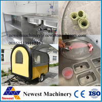 For selling Thailand ice cream roll fast food truck,mobile food cart ,food trailer, food kiosk with 2 big wheels