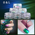 6pcs/set Mezzling Transparent Chameleon Flakes Dust Decorations Nail Sequins Paillette Glitter Tips Manicure Nail Art Tools