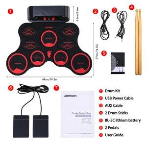 Электронный барабанный набор ammoon, набор цифровых барабанов средней длины, 9 силиконовых прокладок, встроенные стереодинамики с 2 педалями для детей