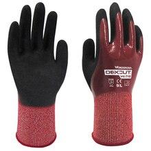 все цены на Water Resistant Oil Proof Safety Gloves HPPE Glass Fiber Nitrile Cut Resistant Oilfield Gas Work Gloves онлайн