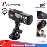 AMPrime Car DVR Dual Lens R300 Dash Cam 2.7 GPS Camera 140 Degree Video Recorder Car DVR with GPS G Sensor Camcorder