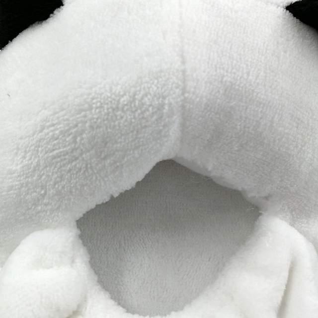 4c240f9f9e2 Lovely Panda Eyes Cute Furry Slippers Flock Soft Winter Cartoon Indoor Flat  Home Women Animal Cotton