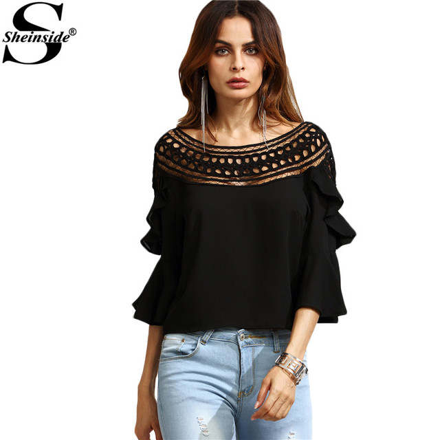 Sheinside Black Shirt Crochet Neck Hollow Out Fare Sleeve Ruffle Sexy Top Female Fall Blouses Three Quarter Length Sleeve Blouse
