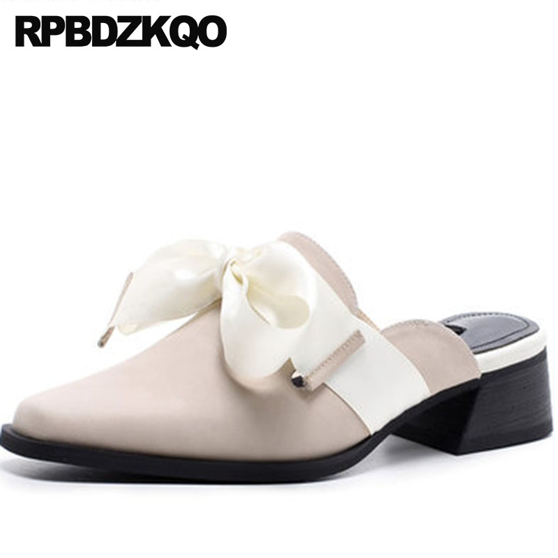 High Quality Size 4 34 Mules Slipper Thick Sandals Ladies Low Heels Shoes Beige Luxury Genuine Leather Kawaii Bow Square Toe