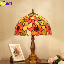 FUMAT table lamps for bedroom LED Stained Glass Flower Shade art Home Deco mariage luminaria Table Lamp Desk Child Bedside Lamp fumat stained glass pendant lamps european style baroque lights for living room bedroom creative art shade led pendant lamp